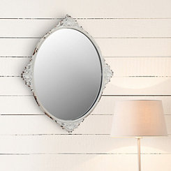 Ornate Worn White Metal Oval Mirror