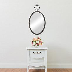 Bronze Metal Oval Ring and Rivet Trim Mirror