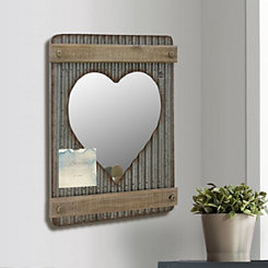 Heart Corrugated Metal and Wood Wall Mirror