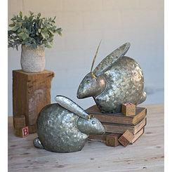 Galvanized Metal Rabbit Sculptures, Set of 2