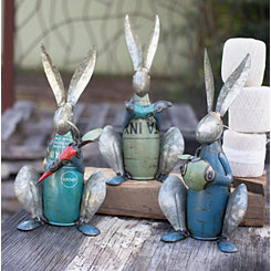 Recycled Metal Rabbit Sculptures, Set of 3