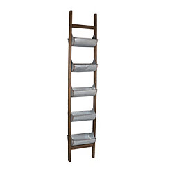 Natural Wood Ladder with Galvanized Metal Planters
