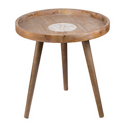 Embossed Fir Wood Accent Table