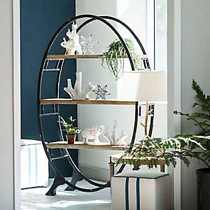 Oval Wood and Metal Bookshelf