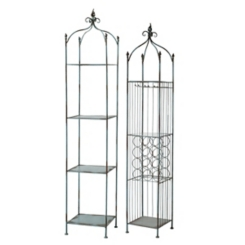 Blue Washed Metal Shelves, Set of 2