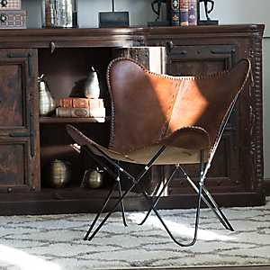 Natural Leather Folding Butterfly Chair