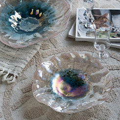 Blue and Blush Washed Glass Bowl, 16 in.