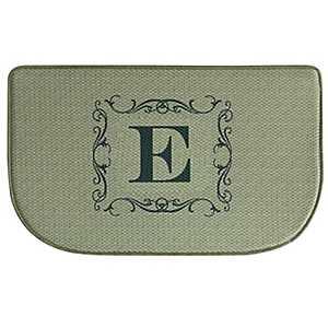 Burlap Monogram E Memory Foam Kitchen Mat
