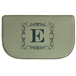 Burlap Monogram E Memory Foam Kitchen Mat