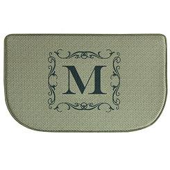 Burlap Monogram Memory Foam Kitchen Mat