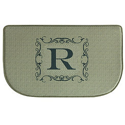 Burlap Monogram R Memory Foam Kitchen Mat
