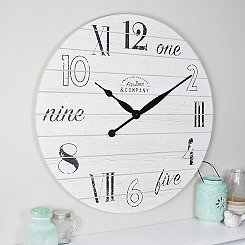 Chic White Shiplap Wall Clock