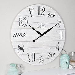 Chic White Shiplap Wall Clock