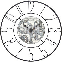Fulshaw Gears Black Metal Wall Clock