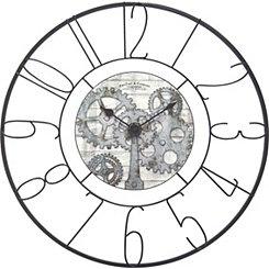 Fulshaw Gears Black Metal Wall Clock