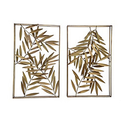 Metal Bamboo Leaf Gold Wall Plaques, Set of 2
