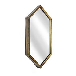 Metal Gold Hexagonal Wall Mirror
