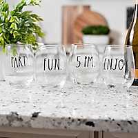 Rae Dunn Stemless Wine Glasses, Set of 4