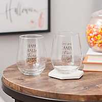 Happy Hallo-Wine Stemless Wine Glasses, Set of 2
