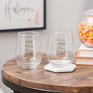 Happy Hallo-Wine Stemless Wine Glasses, Set of 2