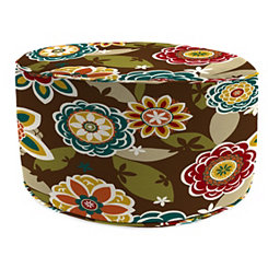Annie Chocolate Floral Round Outdoor Pouf