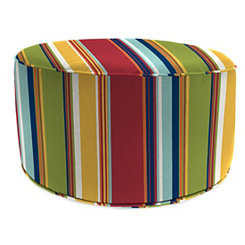 Westport Garden Red Stripe Round Outdoor Pouf