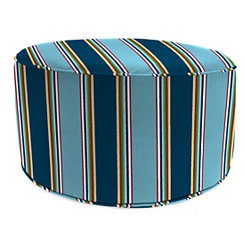Bonfire Regatta Blue Stripe Round Outdoor Pouf