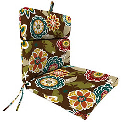 Chocolate Floral Chaise Outdoor Lounge Cushion