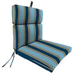 Bonfire Blue Stripe Outdoor Dining Chair Cushion