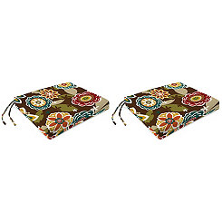 Chocolate Floral Outdoor Seat Cushions, Set of 2