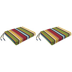 Garden Red Stripe Outdoor Seat Cushions, Set of 2