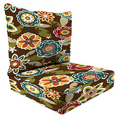 Chocolate Floral 2-pc. Outdoor Chair Cushion Set