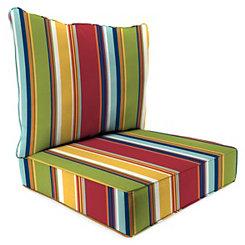 Garden Red Stripe 2-pc. Outdoor Chair Cushion Set