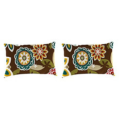 Chocolate Floral Outdoor Accent Pillows, Set of 2