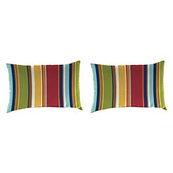 Garden Red Stripe Outdoor Accent Pillows, Set of 2