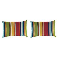 Garden Red Stripe Outdoor Accent Pillows, Set of 2
