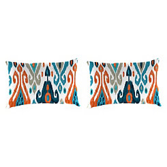 Paso Azure Ikat Outdoor Accent Pillows, Set of 2