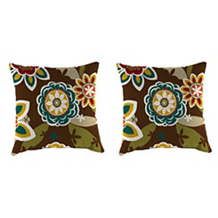 Annie Chocolate Floral Outdoor Pillows, Set of 2