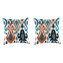 Paso Azure Ikat Outdoor Pillows, Set of 2