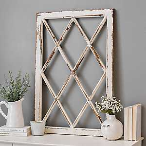 Rustic Diamond Windowpane Wood Wall Plaque