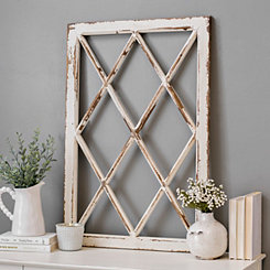 Rustic Diamond Windowpane Wood Wall Plaque