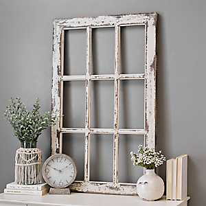 Weathered Rustic Windowpane Wood Wall Plaque