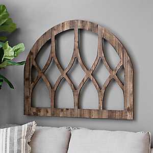 Dark Stained Arch Trellis Wood Plaque