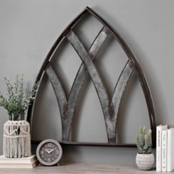 Galvanized Metal Arch Panel Wall Plaque