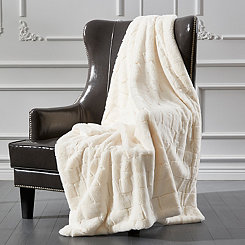 Cream Sculpted Brick Fur Throw