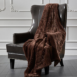 Brown Sculpted Brick Fur Throw