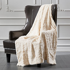 Cream Ripple Faux Fur Throw
