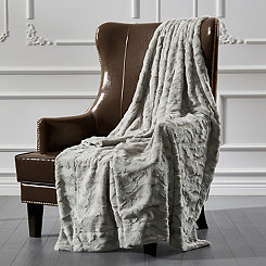 Gray Ripple Faux Fur Throw