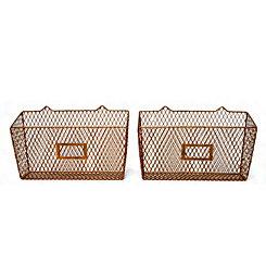Metal Wall Baskets with Name Plates, Set of 2