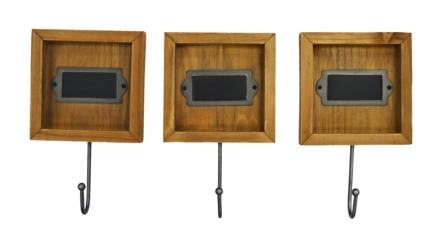 Wood Hooks with Chalkboard, Set of 3